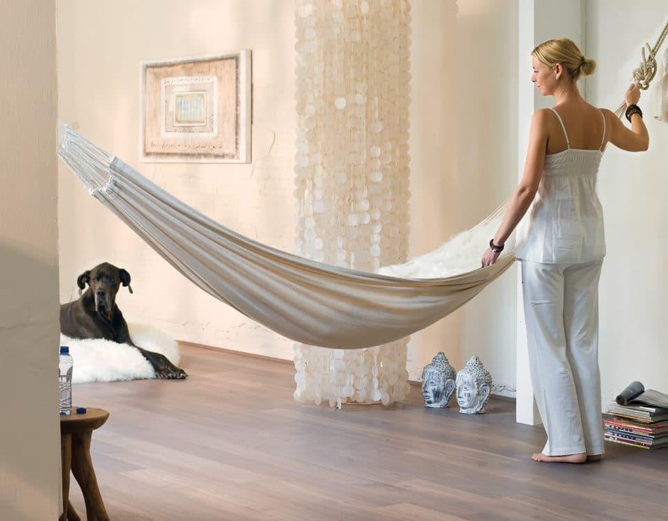 Salon sol parquet Hamac blanc - Jad'O Parquet